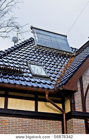 Solar Collector On The Roof Of A House