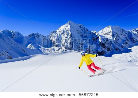 Ski,  woman skiing downhill