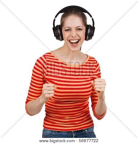 Woman Having Fun With Music Headphones