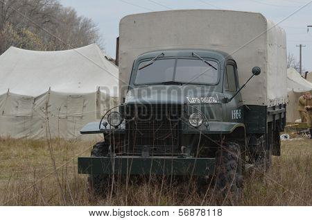 Kiev, Ukraine - November 1: Soviet  truck is displayed on the Field of Battle military history festival on November 1 , 2013 in Kiev, Ukraine