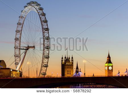 London Eye and Westminster at Sunset