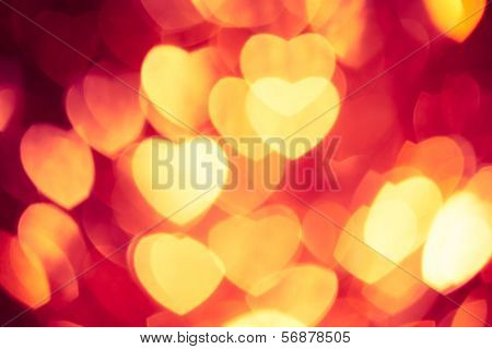 abstract background with glowing hearts