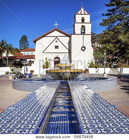 Mexican Tile Fountain Mission San Buenaventura Ventura California