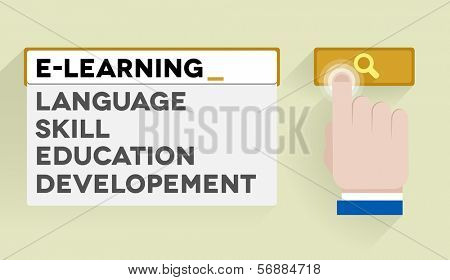 minimalistic illustration of a search bar with e-learning keyword and associations, eps10 vector