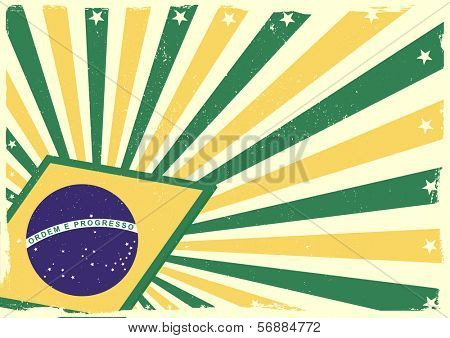 detailed grungy background illustration with stars and brazilian flag elements, eps 10 vector