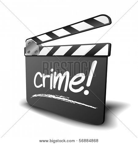 detailed illustration of a clapper board with crime term, symbol for film and video genre