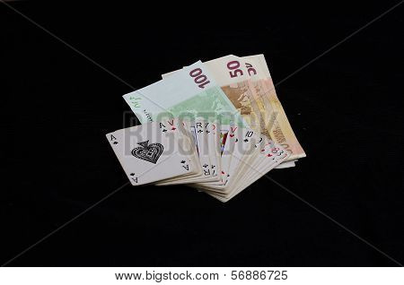 Playing cards and euros