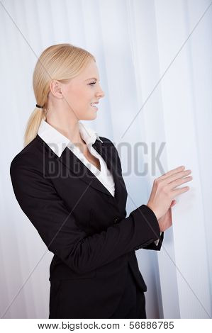 Beautiful Young Businesswoman Looking Into Window