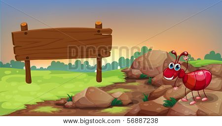 Illustration of an ant at the rocky road with an empty signage