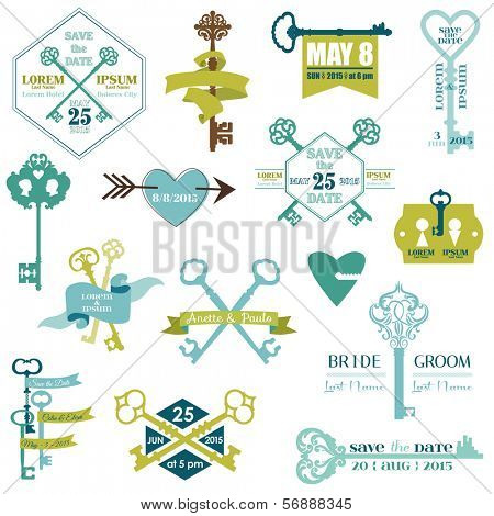 Set of Wedding Cards and Save the date Elements - Key Theme - in vector