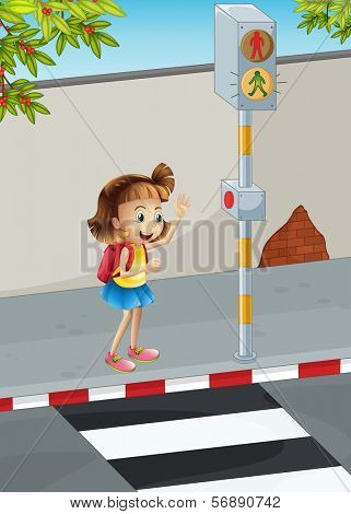 Illustration of a happy young girl with a backpack