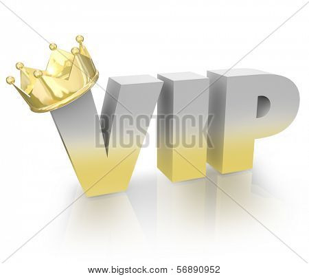 VIP Word 3D Letters Gold Crown Very Important Person