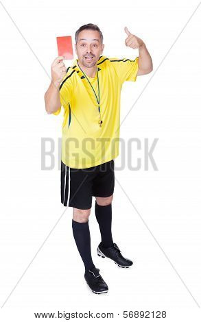 Soccer Referee Showing Red Card