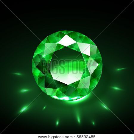 Realistic emerald vector