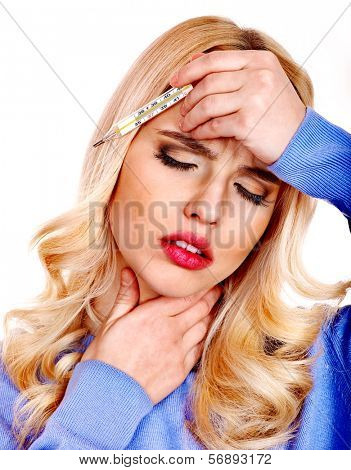 Young woman  with sore throat taking thermometer.