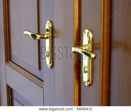 Two, Gold, Metal Door Handles
