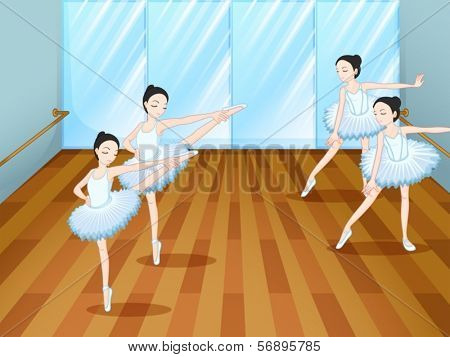 Illustration of the four ballet dancers rehearsing