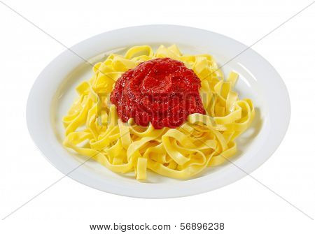 Thin ribbon pasta with tomato puree