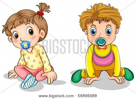 Illustration of a little boy and a little girl on a white background