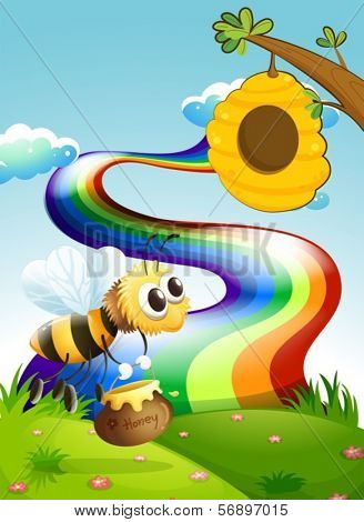Illustration of a bee carrying a pot of honey going to the beehive near the rainbow