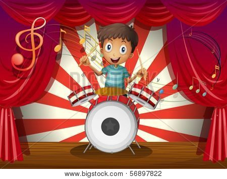 Illustration of a boy at the center of the stage with a drum