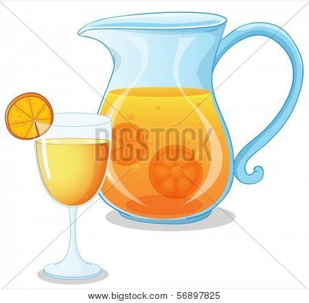 Illustration of a glass and a pitcher of juice on a white background