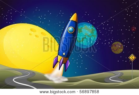 Illustration of an airship at the outerspace