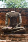 image of beheaded  - Beheaded Buddha image at Wat Mahatat in Ayuttaya Thailand - JPG