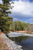 stock photo of bantams  - Ice on the Bantam River flowing through White Memorial located in Litchfield Connecticut on a sunny winter day - JPG