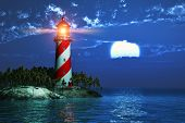 stock photo of midnight  - Night scenery of tropical sea coast with lighthouse and full moon at the midnight - JPG