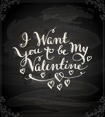 Happy Valentine's Day Design. Blackboard Background with Hand Lettering. Typographical Holiday Illus