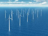 stock photo of offshore  - Computer generated 3D illustration with Offshore Wind Turbines - JPG