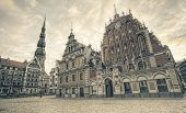 St.Peter Church and House of the Blackheads. Riga Latvia