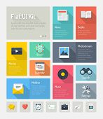 image of text-box  - Flat design modern vector illustration concept of minimalistic stylish infographic webpage elements with icons set or abstract metro user interface kit with simple navigation for web project - JPG