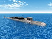 image of u-boat  - Computer generated 3D illustration with a Russian Nuclear Submarine of the cold war - JPG