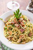 image of carbonara  - Classic Italian Cuisine Spaghetti Carbonara - JPG