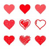 stock photo of romance  - Vector hearts set - JPG