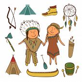 foto of teepee  - American Indian cute icons set - JPG