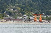 stock photo of yakima  - Tori gate in afternoon at Hiroshima Japan