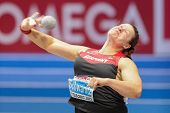 GOTHENBURG, SWEDEN - MARCH 3 Christina Schwanitz (Germany) wins the women's shot put finals during t