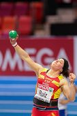 GOTHENBURG, SWEDEN - MARCH 3 Ursula Ruiz (Spain) places 8th in the women's shot put finals during th