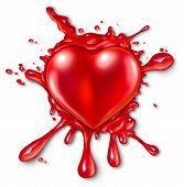 picture of love hurts  - Heart splatter concept with a red three dimensional love and romance icon splattered on a wall with red liquid exploding and spraying out as a metaphor for romantic passion or extreme emotional feelings - JPG