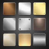 stock photo of specimens  - Metallic icons for mobile application interface - JPG