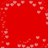 Valentines red background and frame from hand drawing hearts