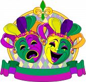Mardi Gras Comedy and  Tragedy Masks design, with place for text. Raster version