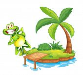 Illustration of an island with a playful and smiling frog on a white background