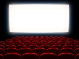 image of cinema auditorium  - Cinema auditorium with white screen - JPG