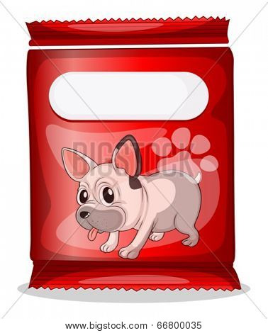 Illustration of a packet of dog food on a white background