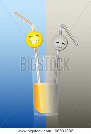 Glass Straws Half Full Half Empty