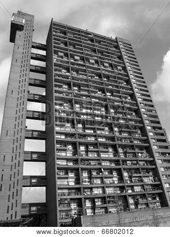 Black And White Trellick Tower In London